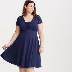 Torrid Lace Inset Ponte Skater Dress Blue size 16